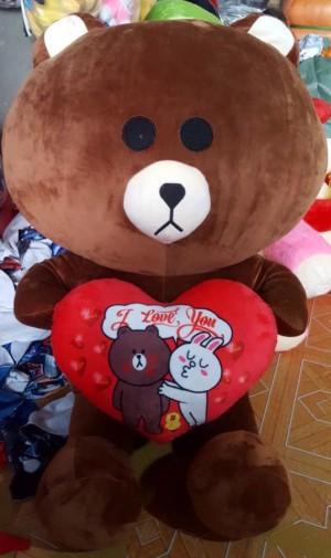 Gấu Brown ôm tim size lớn